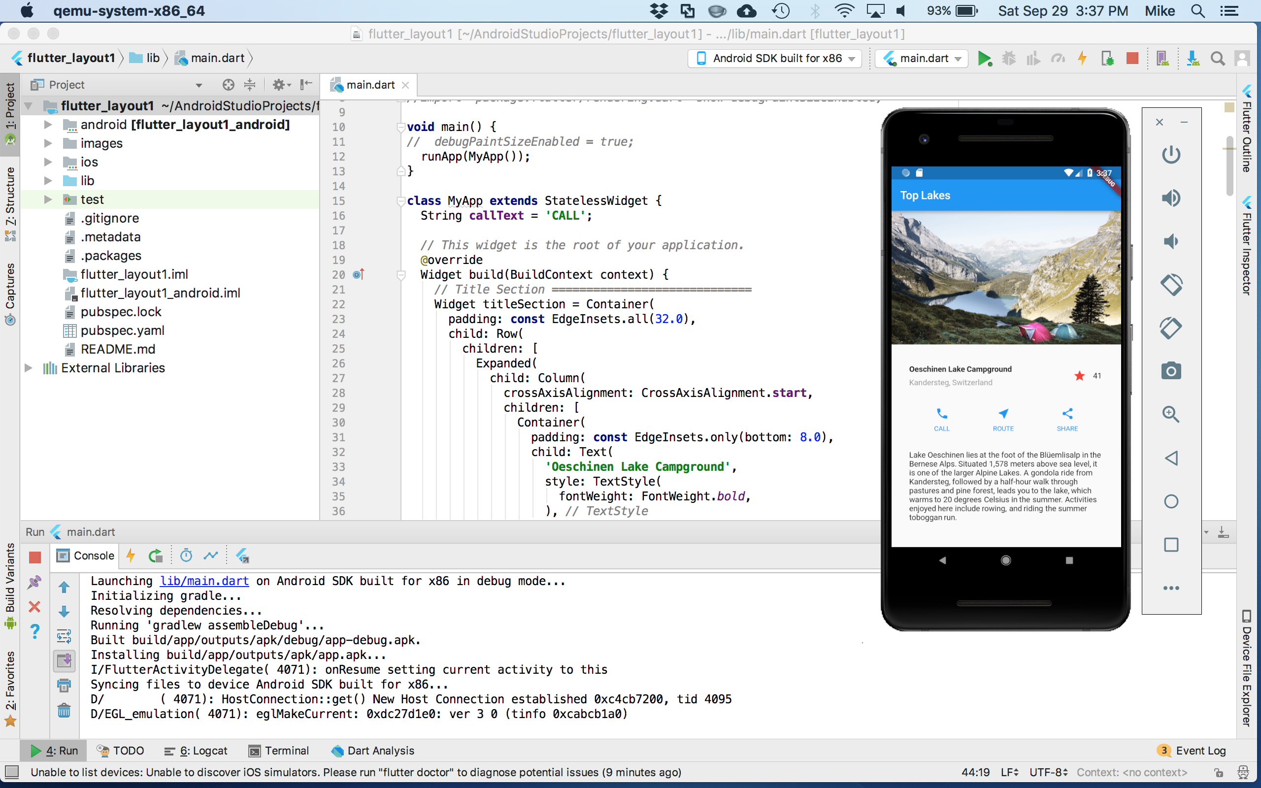Trying out Flutter Application Development using Android Studio